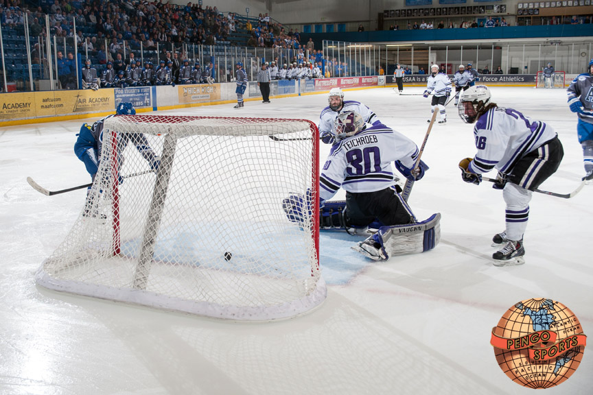Air Force holds off Niagara 2-1 to take a 1-0 series lead