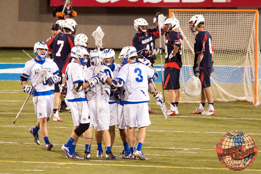 Air Force rolls Richmond 13-5 in the 2014 NCAA Lacrosse Tournament play in game at Falcon Stadium